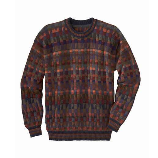 Alpaca-trui 'Mosaiko' Een kunstwerk uit de Andes. 100% Alpaca. Met de hand vervaardigd in 28 (!) kleuren.