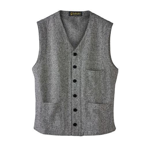 Hollington gilet van zijde-tweed Legendarisch design. Luxueuze zijde-tweed. De zomers lichte variant van het echte Hollington-gilet.