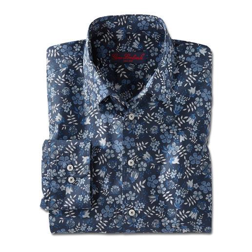 Liberty™ Tana-Lawn-overhemd, donkerblauw/wit/blauw/grijs Gebloemd gentleman-overhemd: bij alle andere merken een trend, bij Liberty™ al meer dan 140 jaar een traditie.