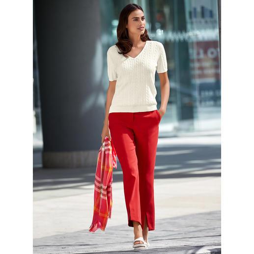 Onderhoudsarme nette pantalon – nu in modieus rood. Dankzij 'blended wool' zacht en kriebelvrij. Slijtvaste, machinewasbare kwaliteit.