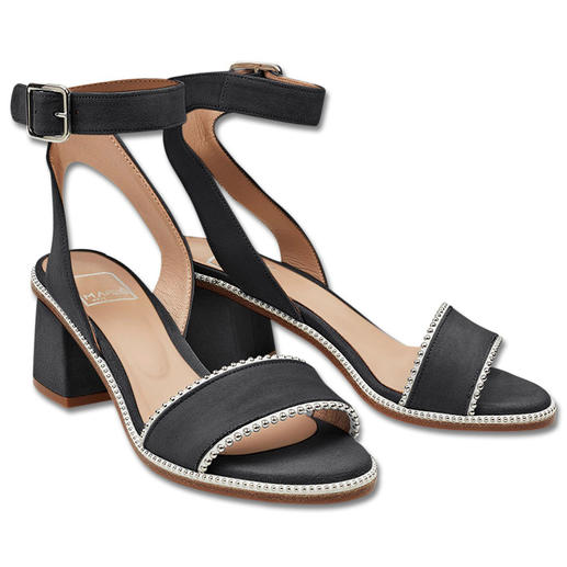 MA&LÒ sandaaltjes met riempje, zwart Trendy sandaaltjes met riempje en studs: in een draagbare hoogte, heel stijlvol en voor een aantrekkelijke prijs.