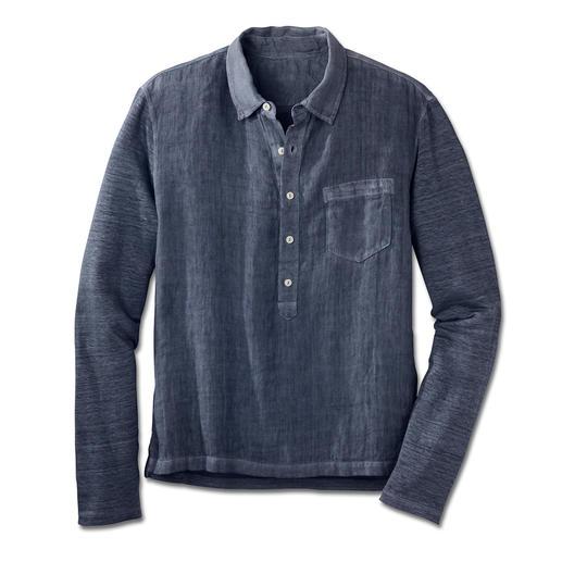 Comfortabel linnen overhemd Vertrouwd luchtig, verrassend comfortabel. Elastisch linnen overhemd met achterkant en mouwen van jersey.