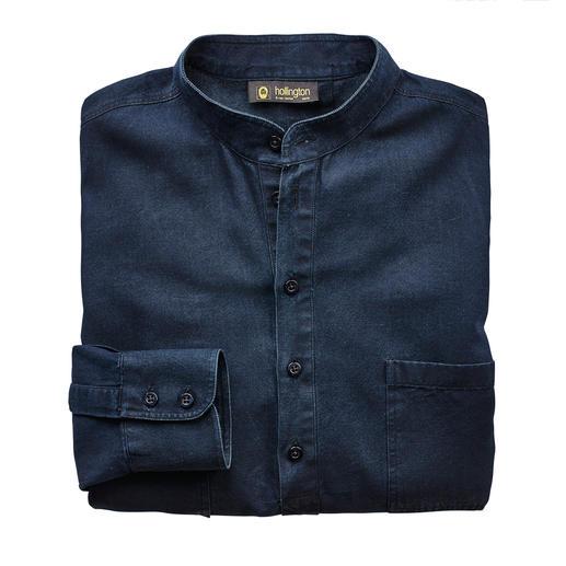 Hollington Nehru-jeansoverhemd Kenmerkend: de staande kraag. Nieuw: de modieuze denim-look. Van Patrick Hollington.