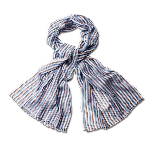 alpi gestreepte sjaal van 50 gram Deze veelzijdige gestreepte sjaal is afkomstig van een traditionele stropdassenmaker. Van alpi.