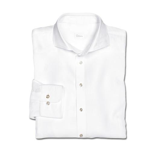 Luchtig maar niet casual: het zakelijke overhemd van fijn Belgisch linnen. Perfect voor bij temperaturen van 30 °C en hoger. Van de overhemdenspecialist Dorani.