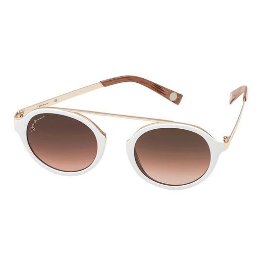 Elegante zonnebril in trendy wit. Elegante zonnebril in trendy wit. Modieuze ronde glazen, retromodel zonder neusbrug. Voordelig geprijsd.
