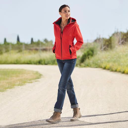 Softshell- damesjack, rood/zwart Smal, licht en toch heerlijk warm. Jack van softshell met WindProtect® van CMP.