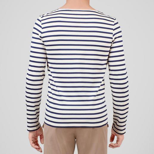 Shirt met lange mouwen, ecru/marine