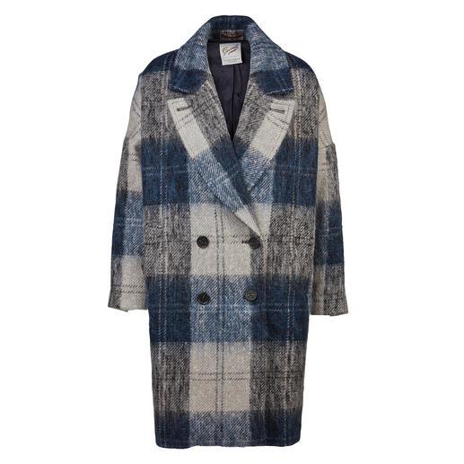 Gloverall damesmantel Perfecte combinatie van trend en traditie: geruite oversized wollen mantel met zacht mohair.