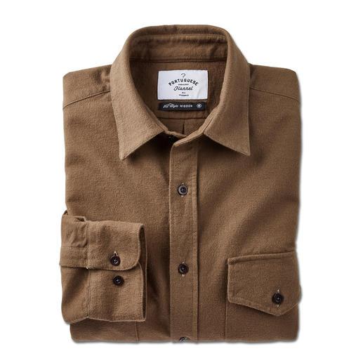 Moleskin-overhemd van Portugees flanel Smal moleskin-overhemd van Portugees flanel: veel verfijnder dan de stoere workwear-look.