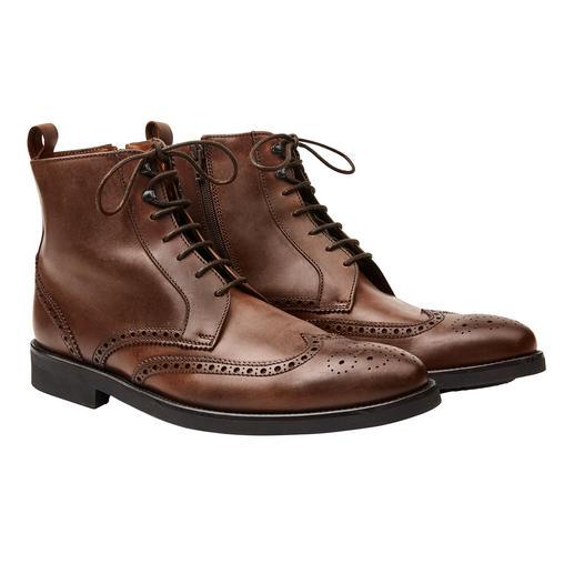 Lottusse Brogue-Boots De elegante zakelijke schoenen voor regenachtige dagen. Gewaxt leer. Gestikte, rubberen zool. Hoge schacht.