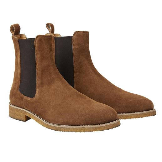 Bobbies Paris suèdeleren Chelsea-boots Het suèdeleer, het Chelsea-model en de zool van natuurrubber maken deze boots heel modieus. Van Bobbies.