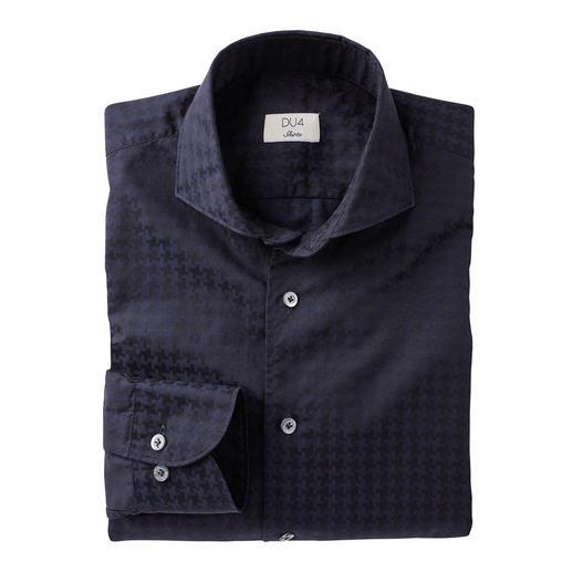 Dufour modern overhemd met pied-de-poulemotief Modieus groot dessin, zonder te opvallend te zijn. Een stijlvolle interpretatie van het trendy XL-motief.