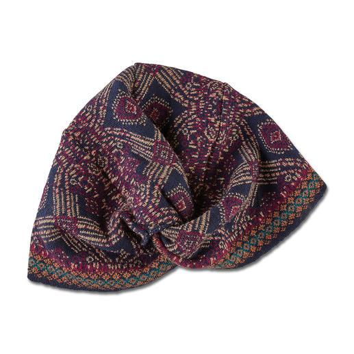 Ivko jurk, tulband, armwarmers of sjaal in jacquardbreisel Een zeldzaamheid uit Servië: jacquardbreisel in vele kleuren en motieven.