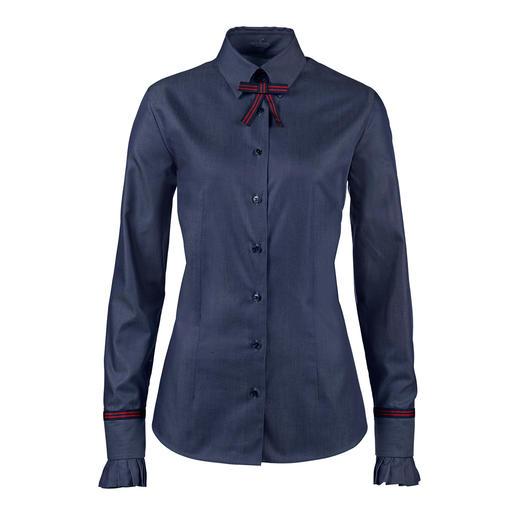 van Laack jeansblouse Blouse in denim-look die elegant genoeg is om naar het werk te dragen. Fijn geweven van gemerceriseerd katoen.