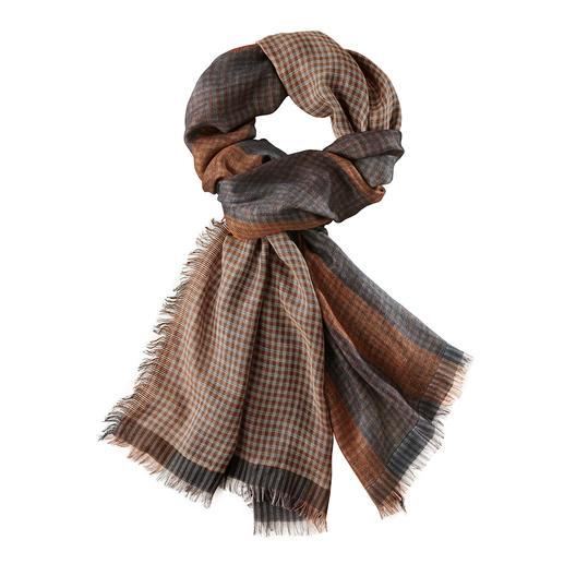 Ascot sjaal met patroonmix in herfstkleuren Modieuze patroonmix, zeldzaam kunstig geweven in dubbele schering.