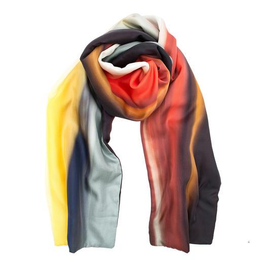 Winterse zijden sjaal Elegante zijden sjaal voor het koude jaargetijde. Met warme vliesvoering. Van Abstract, Italië.