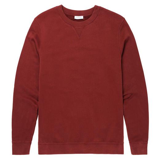 Sunspel Loopback-sweatshirt Het sweatshirt is weer in de mode. Hier in klassiek gebreid 'Loopback'-model. Van Sunspel, Engeland.