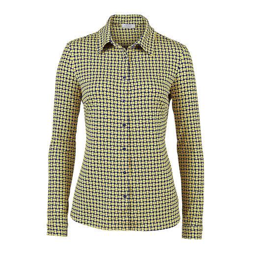KD-Klaus Dilkrath jerseyblouse, geel/blauw Elegant als een blouse. Comfortabel als een shirt.