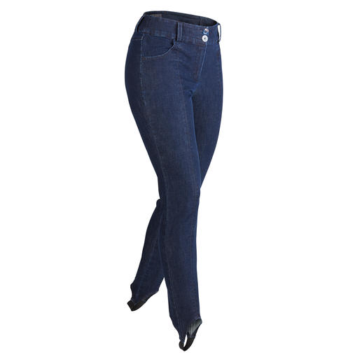 Jeans met voetbandjes De populaire denimstof is er nu eindelijk ook als perfecte broek met voetbandjes.