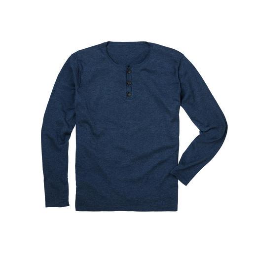 Pima Cotton-henleyshirt Chic fijntricot in plaats van T-shirtjersey. Heerlijk zacht dankzij handgeplukt Peruaans Pima Cotton.