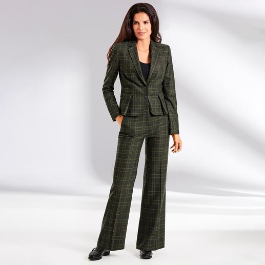 Benbarton Ruit-kostuumblazer of Marlenebroek Broekpak. Ruitpatroon. Marlenebroek: 3 klassiekers leveren de mode-highlight van nu op. BENBARTON New York.