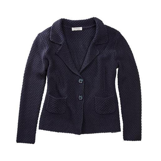 Carbery gebreide brickwork-blazer Gebreide blazer met opvallend brickwork-structuurmotief. Van de Ierse producent Carbery.