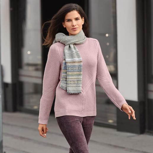 Gestructureerde tricotsweater Om 4 redenen heel modieus. Puur natuur, en daarbij voordeliger dan veel truien die erop lijken.