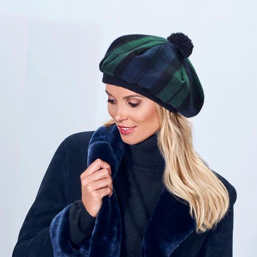Lochcarron Schotse muts De Schotse muts, het origineel van Lochcarron. Traditierijk Black Watch Modern-tartan. Zuivere lamswol.