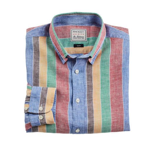 Hackett London gestreept overhemd Ontworpen in de jaren 70. Nu modieuzer dan ooit. Zo'n stijlvol streepdessin kan alleen Hackett London creëren.