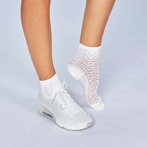 ELBEO ajoursokken De nieuwste trend, van het oudste beenmodemerk ter wereld. Gedessineerde sokken van ELBEO.