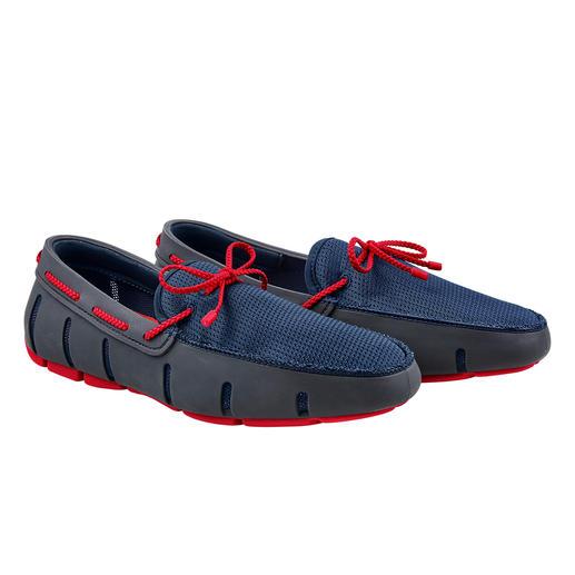 Wet-shoes voor de gentleman. Net zo waterbestendig als badschoenen. Net zo luchtig als sandalen. Net zo elegant als loafers.