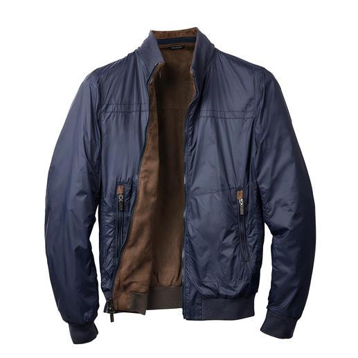 Gimo's keerbar jack van geitensuèdeleer Aan beide kanten te dragen leren jack met waterafstotende kant van nylon. Van leerspecialist Gimo's, Italië.
