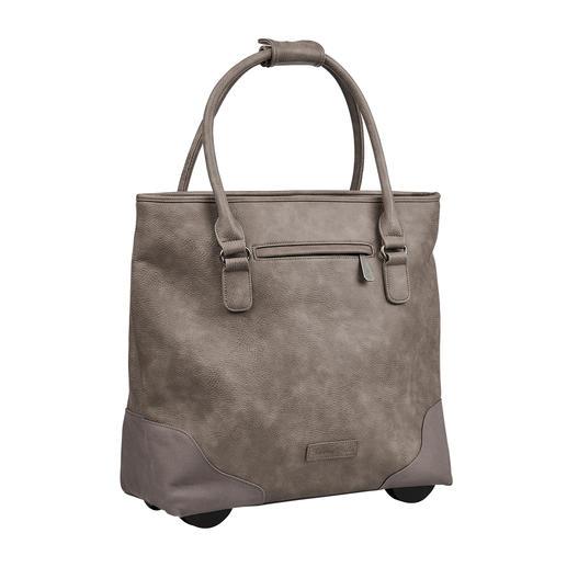 Altijd elegant, met een royale inhoud en niet te zwaar. De XL-shopper-bag met verborgen trolleyfunctie. Van Fritzi aus Preußen.