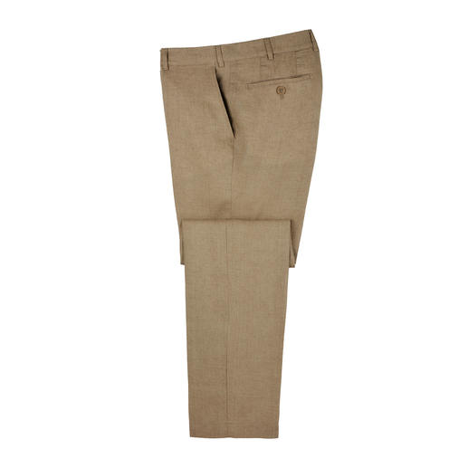 Seidra uit Oostenrijk weeft een luchtig linnen, dat zich vooral leent voor formele business-broeken. Seidra uit Oostenrijk weeft een luchtig linnen, dat zich vooral leent voor formele business-broeken.