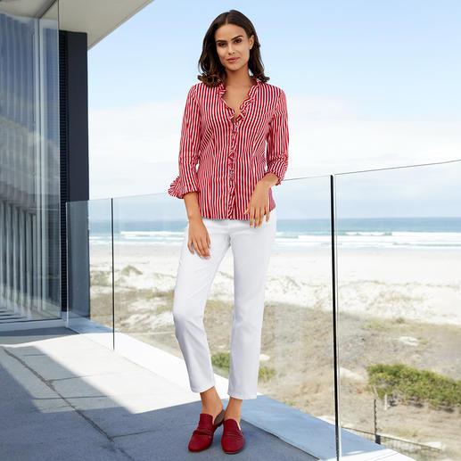 Liu Jo gestreepte blouse Van klassieker een modieus key-piece: de gestreepte blouse. Helemaal in de mode, met rood/roze en ruches.