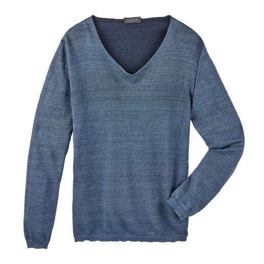 Seldom linnen Giza-pullover Korrelig, koel linnen van buiten, zeer fijne Egyptische Giza-katoen van binnen.