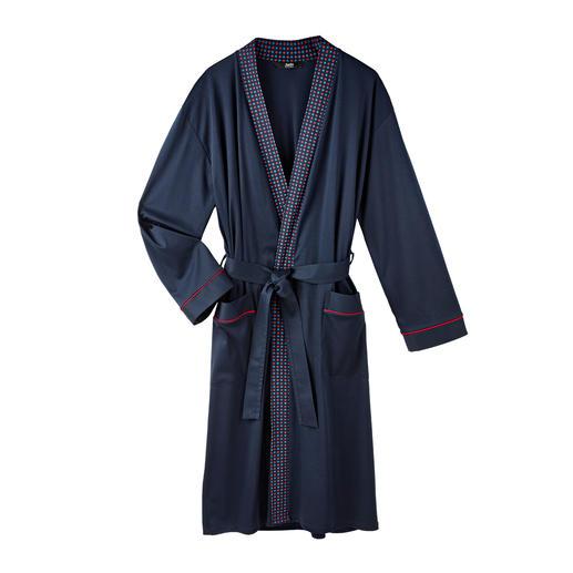 Stijlvolle badjas voor heren Smaakvolle, donkerblauwe jersey in plaats van zachte badstof.