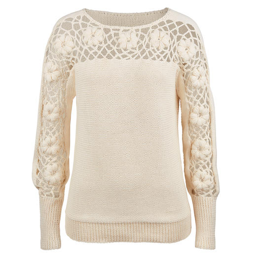 Eribé trui met bloemmotief Met de hand gehaakt in levendige en expressieve driedimensionale look.