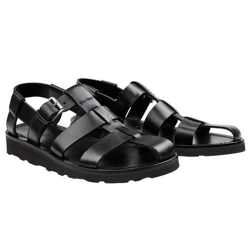 Piaceri sandalen, zwart Chic en hoogwaardig, en daardoor zelfs geschikt om onder een pak te dragen. Van Enrico Piaceri.