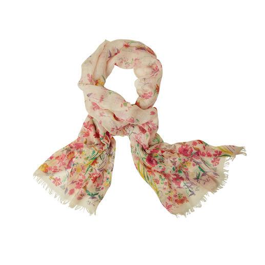 Pashma sjaal met bloemdessin Zo luxueus zijn maar weinig modieuze sjaals met bloemdessin. Pashmina-kasjmier met zijde en linnen.
