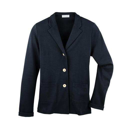 T-shirtblazer Zo netjes als een blazer. Zo licht en luchtig als een T-shirt. 265 g lichte blazer van fijne katoen-jersey.