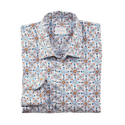 Dorani overhemd met tegelmotief Modieus tegelmotief, maar dan subtiel en stijlvol: in zachte kleuren en met een rustig dessin. Van Dorani.