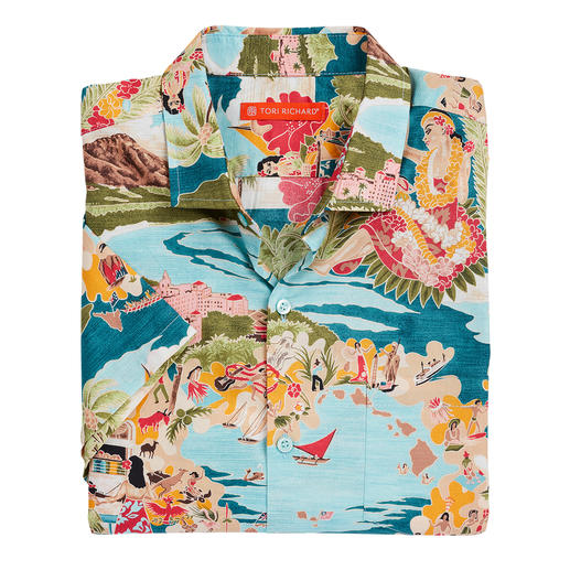 Tori Richard Aloha Shirt Het Aloha-shirt van Tori Richard. Vervaardigd op Hawaï.