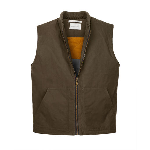 Peregrine cotton-wax-vest Het cotton-wax-vest van Peregrine, Engeland, houdt wind en regen tegen en houdt u heerlijk warm.