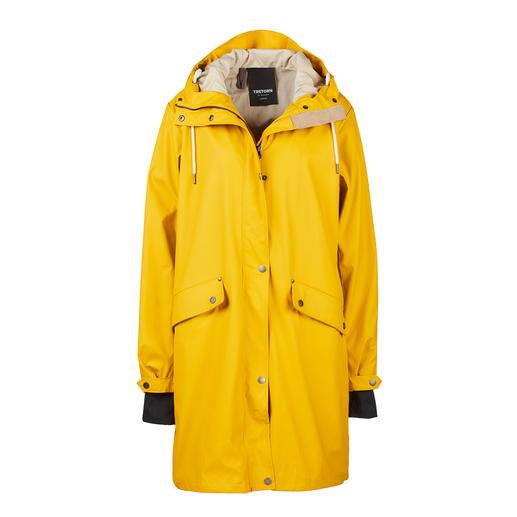 Een klassieker in een nieuw jasje. Zachter, mooier en duurzamer. Een klassieker in een nieuw jasje. Zachter, mooier en duurzamer. 'Friesennerz'-regenjas van 100% gerecycled PU.