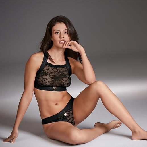 Moschino Underwear kanten bustier en slip De sportieve couture onder de lingerie: kanten lingerie van het Italiaanse trendlabel Moschino.