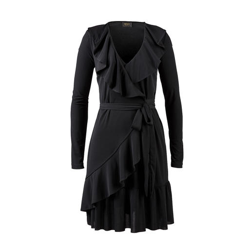 Liu Jo jersey jurk met rushes - Vrouwelijke ruches. Verleidelijke wrap-look. Ongecompliceerd tricot. Van Liu Jo, Italië.