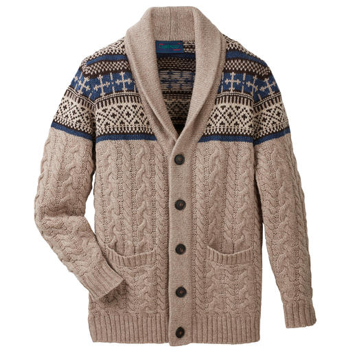 Carbery vest met sjaalkraag - Met sjaalkraag, kabelmotief en Noors motief. Uit het luxe-breiatelier van Carbery uit Clonakilty.