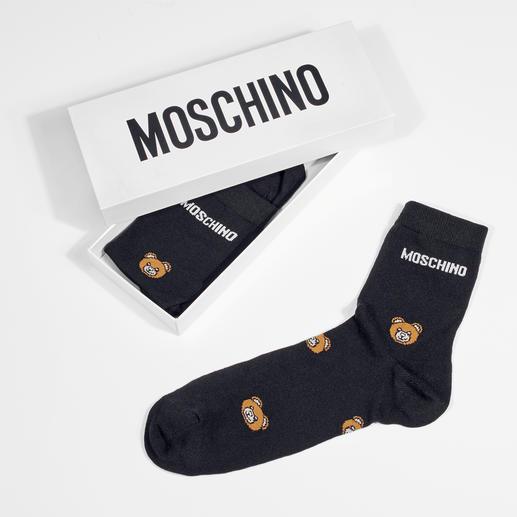 Moschino teddybeersokken en kniekousen met opschrift Stijlvolle look, aantrekkelijke prijs, chique verpakking: het perfecte geschenk voor alle fashionista's.